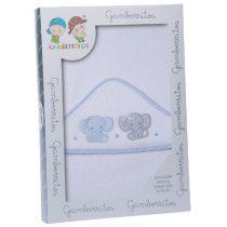 Gamberritos fürdőlepedő kapucnis 100x100cm elefánt fehér/kék 10396