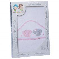 Gamberritos fürdőlepedő kapucnis 100x100cm elefánt fehér/rózsaszín 10396