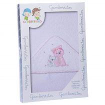 Gamberritos fürdőlepedő kapucnis 100x100cm kutya fehér/rózsaszín 10398