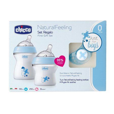 Chicco Natural Feeling ajándékszett (3 részes) Kék 0m+ Ch08071166