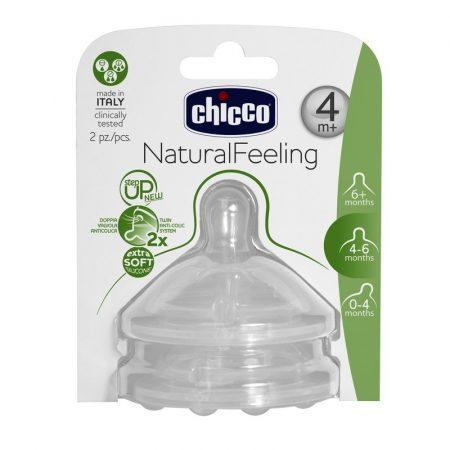 Chicco Natural Feeling Változtatható Folyású Szilikon etetőcumi 4m+ 2 db Ch0810352
