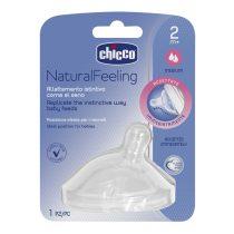 Chicco Natural Feeling 1 Lyukú közepes Folyású Ferde Szilikon etetőcumi 2m+ CH0810231