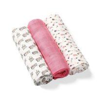 BabyOno textilpelenka színes 3db bambusz 397/01 rózsaszín